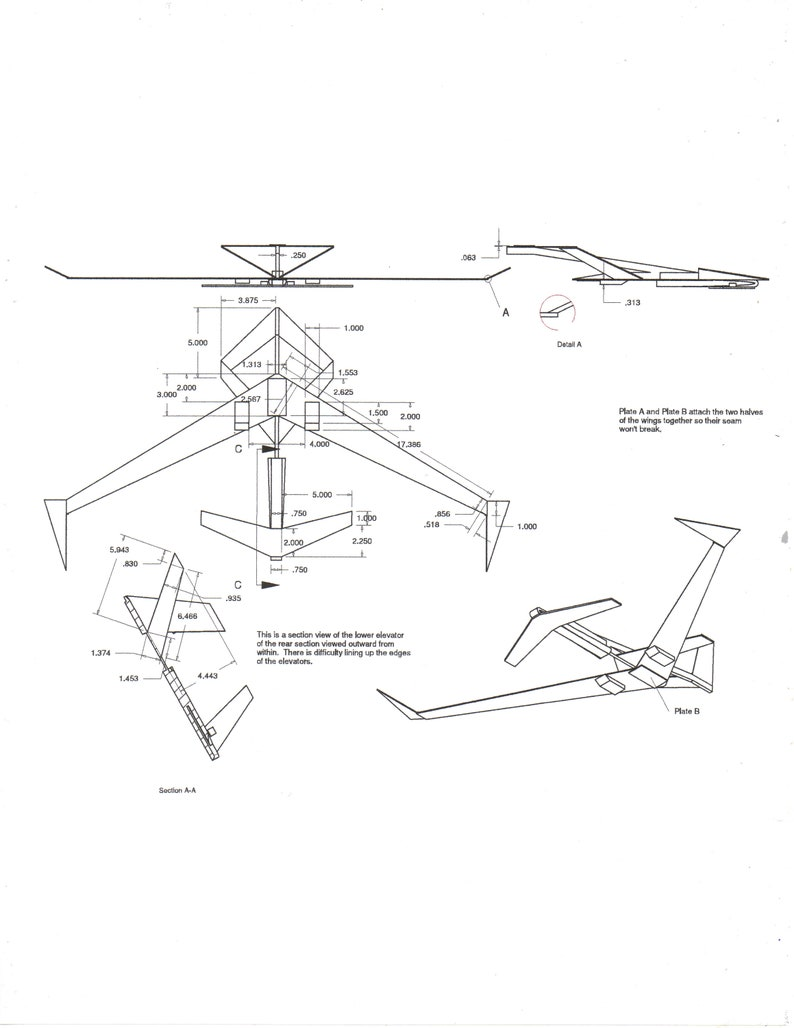 Glider 9 Balsa Wood Model Airplane Design Plans