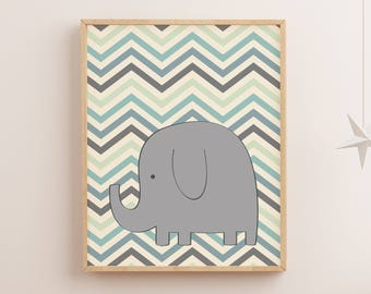 Elephant poster | Chevron pattern | grey and green | Printable