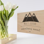 Custom-designed wooden door sign | mountains | baby and kids