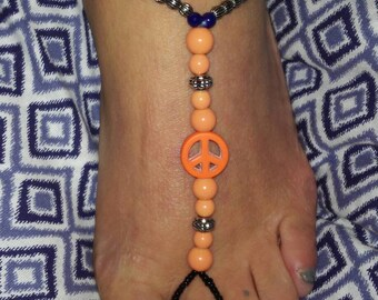 Peace sign soleless sandals
