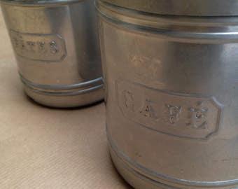 Vintage French kitchen storage canisters | Kitchenalia