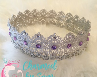 Silver Lace Crown, photo prop, princess crown, cake topper, gender reveal, newborn photo, pregnancy announcement, birthday, Sophia The First