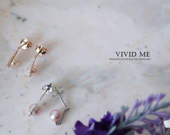 Pearl earrings with Swarovski Zirconia-silver earrings