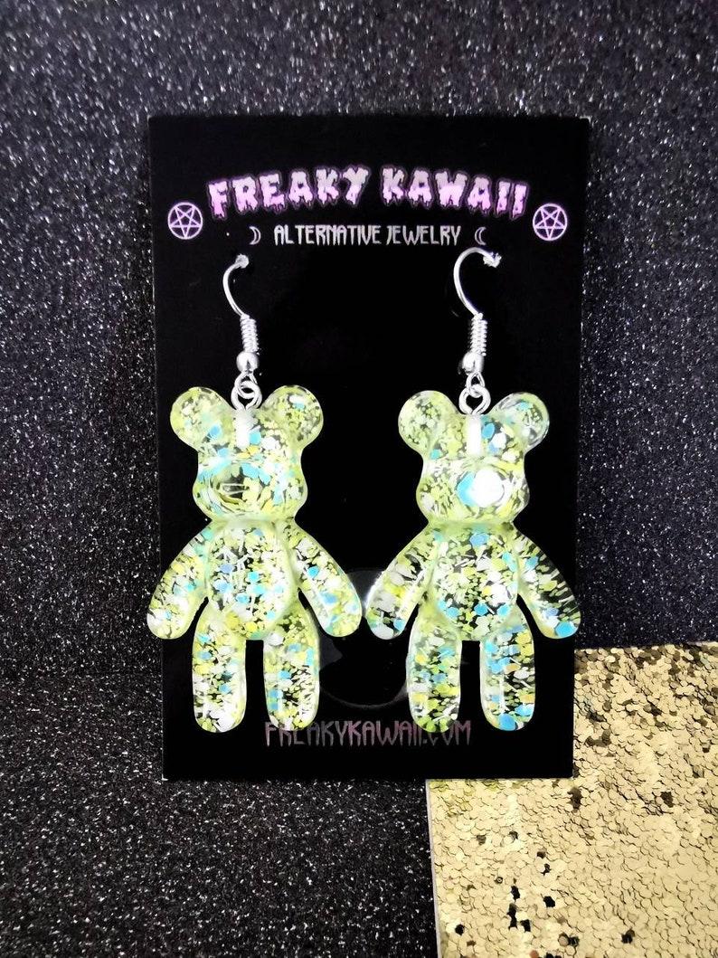 Hooks or clips Pair of Teddy Bear earrings resin chunky glitter yellow green white gold Kawaii Harajuku Pastel Goth Alternative Fairy Kei