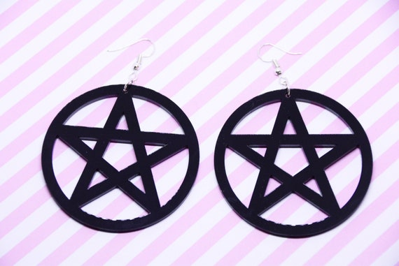 Witch Occult Pentagram Hoop Earrings Witchcraft Wicca Gothic Amulet Harajuku