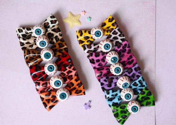 13 Couleurs Barrette Clip Cheveux Noeud Oeil Vinyle PVC Horreur Creepy Kawaii Lolita Spank Pastel Goth Punk Harajuku Rockabilly Leopard
