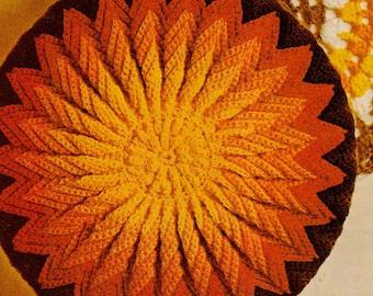 Crochet pillow pattern, crochet round pillow pattern, crochet sunburst pillow, PDF Pattern, Instant download, crochet cushion pattern