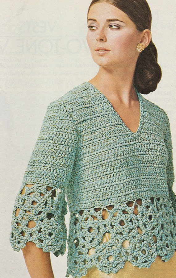 Crochet Pattern Womens Blouse Short Sleeve Vintage Crochet Etsy