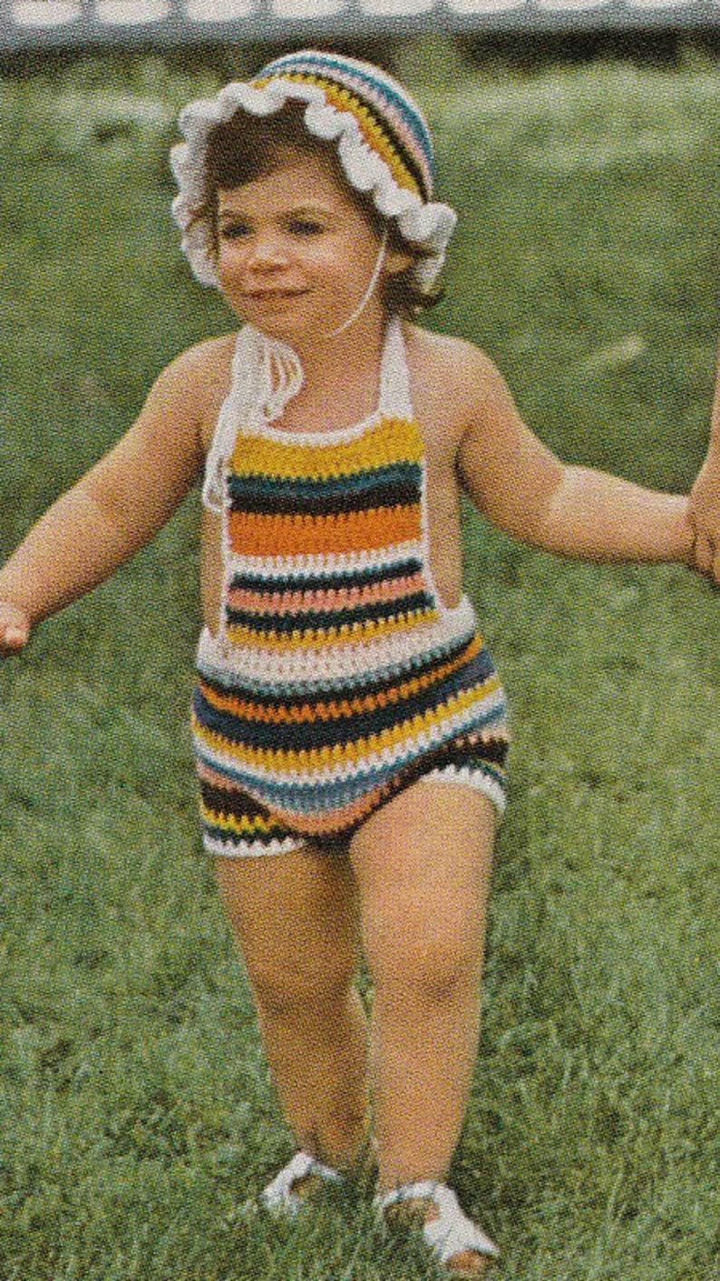 5b6215721b62 Crochet Striped sunsuit   hat set romper sunsuit baby