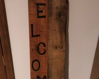 Welcome sign, flower welcome sign, wooden sign