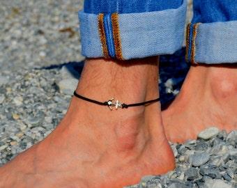 Anchor anklet for men, men's anklet, silver anklet, black cord anklet, anklet for men, gift for men, men's ankle bracelet, nautical jewelry