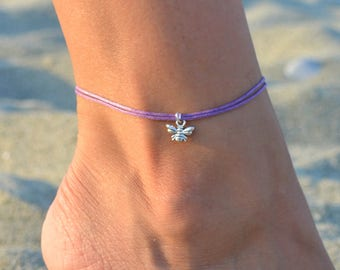 bee anklet, anklet with bee charm, anklets, beaded anklet, beach anklets, summer anklets, ankle bracelet, silver anklets minimalist wax cord