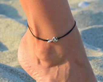 cat anklet, cat ankle bracelet minimal, minimalist anklets, beach anklets, summer anklets black cord anklet for women, tiny cat charm anklet