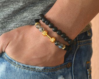 dumbbell bracelet, mens bracelet, bracelet for men, gym bracelet men, fitness bracelet, bodybuilding, beaded bracelet, gold bracelet, men