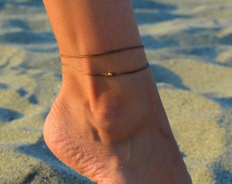 gold bead anklet, brown ankle bracelet with gold plated bead, dainty anklet, minimalist jewelry, gift for girlfriend, beach anklets minimal