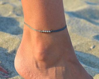 silver beads anklet, silver anklets, beach anklets, beaded anklets, summer anklets, waxed cord anklet for women, ankle bracelet boho style