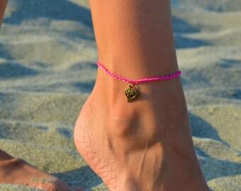 heart anklet, love  anklet, beach anklets, anklet for her, minimalist anklet, anklet for women, pink anklet, summer anklet, boho anklet