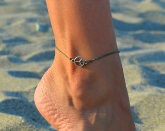 peace anklet for women, anklet for women, karma anklet, beach anklets, gift for her, minimal ankle bracelet,nautical jewelry, summer anklets