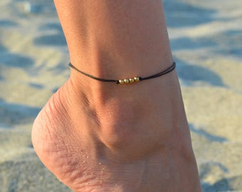 gold bead anklet, black ankle bracelet with gold plated beads, dainty anklet, minimalist jewelry, gift for girlfriend, beach anklets minimal