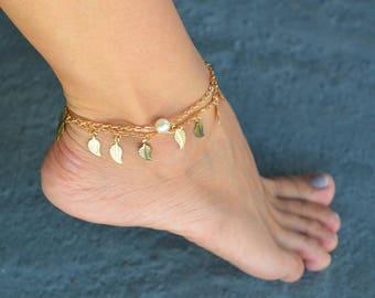 gold anklet, gold ankle bracelet, native america anklet, gold summer anklets, pearl anklet, beach anklets, gold leaf anklet, layered anklet