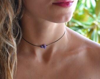 Raw Amethyst Necklace, amethyst choker, gemstone necklace, Gemstone choker, Delicate Necklace, Layered Necklace, choker necklace beaded