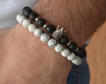 Men's Bracelet, Bracelet men, white stone bracelet, Men's Gift, beaded bracelet men, gift for boyfriend, gift for father, gift for him