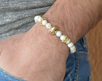 Gladiator bracelet, mens bracelet ,Spartan Warrior bracelet , howlite bracelet, gold bracelet , harm bracelet, beaded bracelet, mens jewlery