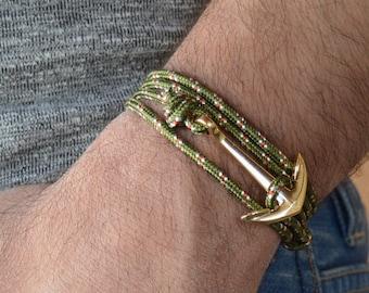 Men's Bracelet - Men Anchor Bracelet - Men's Jewelry - Men Bracelet - Men Jewelry - Men's Gift - Boyfriend Gift - Sailor Gift, gold anchor