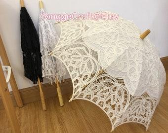 f2f6cb349 Ivory Diameter 77cm 30inch cotton lace Wedding umbrella.wedding party decor.Bride  umbrella.Bride Ivory lace parasols.Wedding Favor Lace Fan