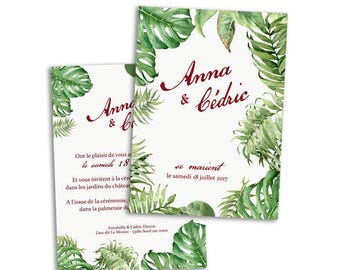 100 x Tropical wedding invitation