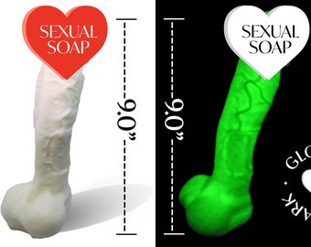 """Huge Penis Soap 9"""" Glow In The Dark   XXX Large Huge Dick Soap All Natural Cock Soap 16 oz  9.0 inch Penis Soap Bachelorette  1 LB Dick Soap"""