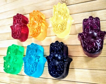 7 Hamsa Chakra Soaps Made The Correct Way with Their Specific Colors and Scents Infused with Reiki Energy Set of 7 Hamsa Crystal Chakra Soap