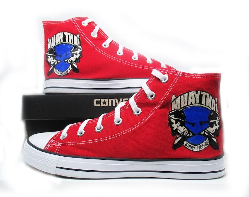 70e15bd3ed13a Muay Thai custom Converse shoes Style High Top Shoes martial art of Thai  boxing