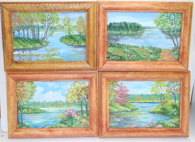 Master Work Set Of 4 Oil Paintings With Wooden Frames Landscape Pictures