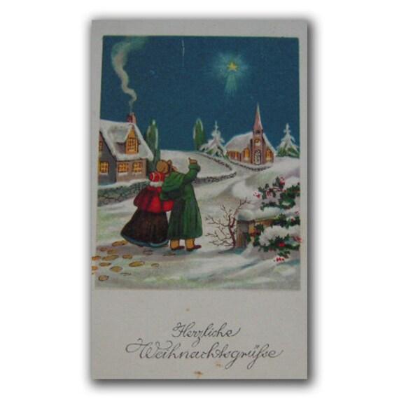 Antique Merry Christmas Postcard   Retro German Christmas morning Picture  German postcard collectible