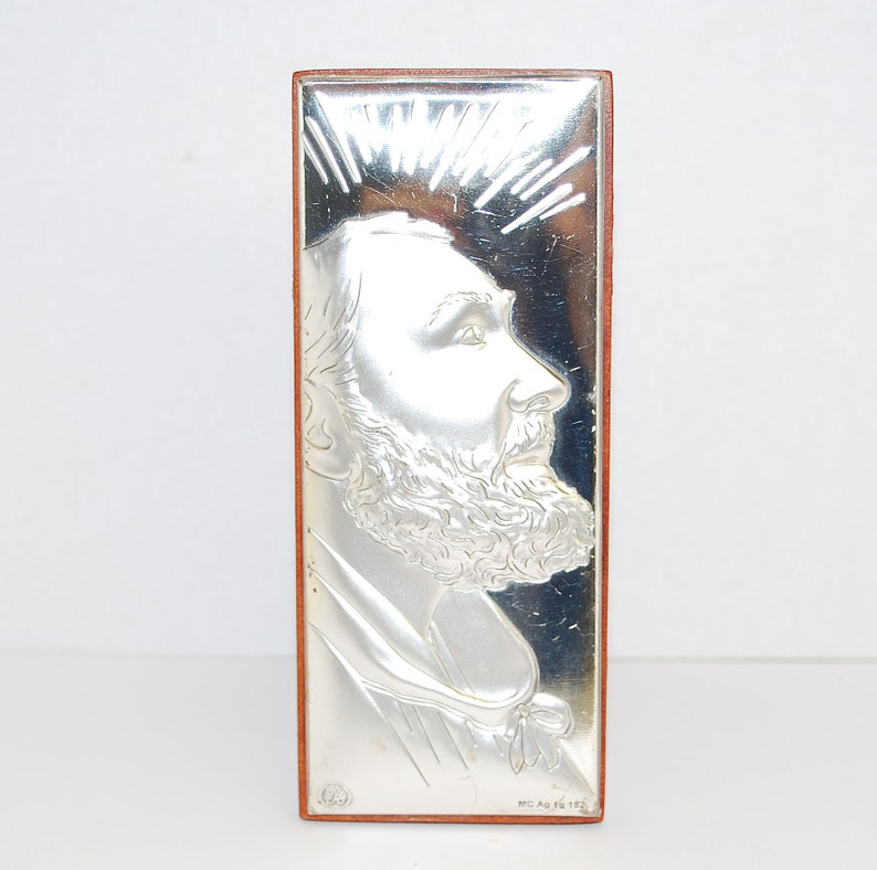 Re Argento Holy Picture Made From Silver And Walnut Tree Beautiful Art With Saint Image Vintage