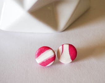 Red and White Stud Earrings - Polymer Clay - Heart or Circle