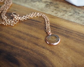 Rose Gold Necklace - Black and Gold Marbled Resin Pendant