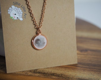 Rose Gold Necklace - Grey and White Marbled Resin Pendant
