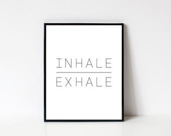 Einatmen Ausatmen Druck, Yoga Wand Kunst Druckbare, Einatmen Ausatmen  Druck, Typographie, Yoga Studio Dekor, Minimalistisch Wandbilder,  Sofort DOWNLOAD