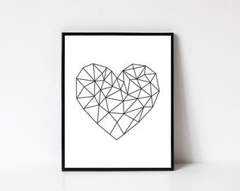 Valentines Day Printable, Valentines Day Wall Art, Heart Wall Art, Geometric Abstract Heart, Geometric Print, Line Art, INSTANT DOWNLOAD