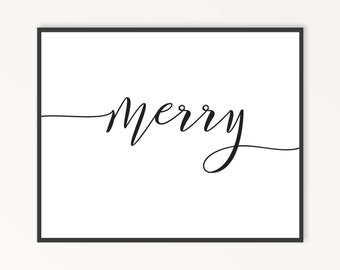 Christmas Wall Art, Holiday Wall Art, Merry, Christmas Decor, Holiday Decor, Minimalist Holiday, Printable Wall Art, INSTANT DOWNLOAD