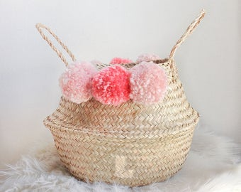 Soft pink woven basket