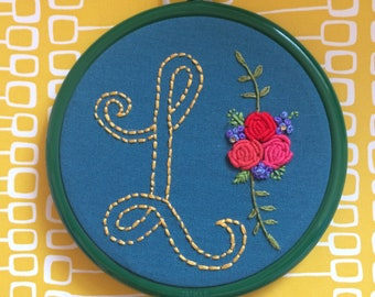 Custom Floral Initial - hand embroidered hoop art. Decorative personalised embroidery. Nursery wall or door. Gift Idea for Her. Home Decor