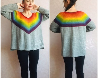 09cf6be8705 Rainbow Sweater Stripped Icelandic 100 WOOL Sweater Coat Gray Fair Isle  Nordic Sweater Cable Hand Knit Alpaca Loose Chunky Plus Size Sweater