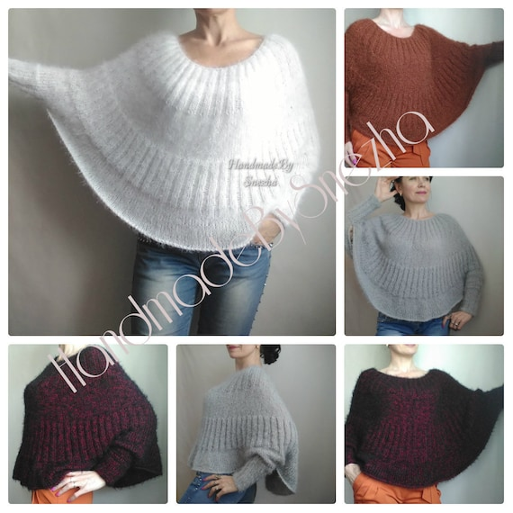 Poncho Elegant Chunky Sweater Wool Sweater Soft Sweater Sexy Hand Beige Brown Black Boho Pastel Loose Knit RED Mohair Sweater Sweater Knit xRqU7I