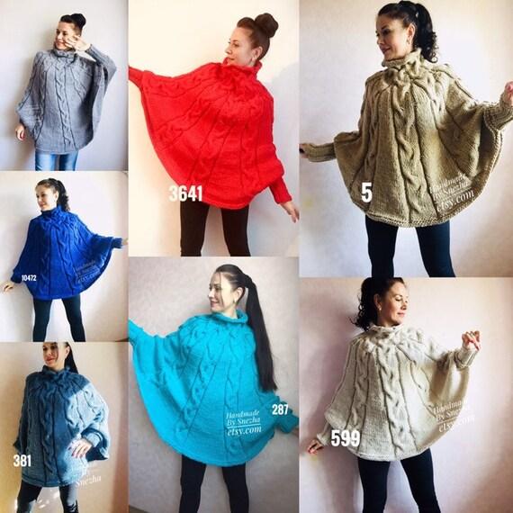 4e153a82d8 Knit Poncho Woman Crochet Plus Size Clothing Oversize Sweater