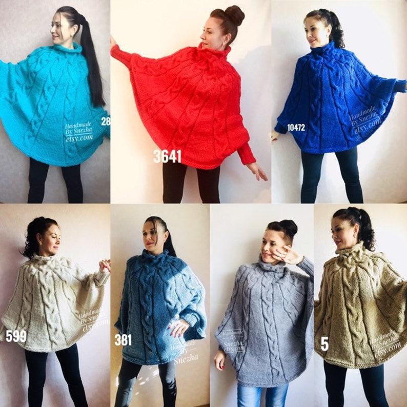 342ed8737 Knit Boho Poncho Women Wool Oversize Sweater Plus Size Winter | Etsy