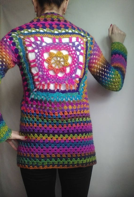 Sweater RAINBOW Size CARDIGAN Sweater Hippie Hand Clothing Rainbow Gradient Knit Sweater Oversized Rainbow Plus Shawl Women Wool Sweater WAxxPzrg