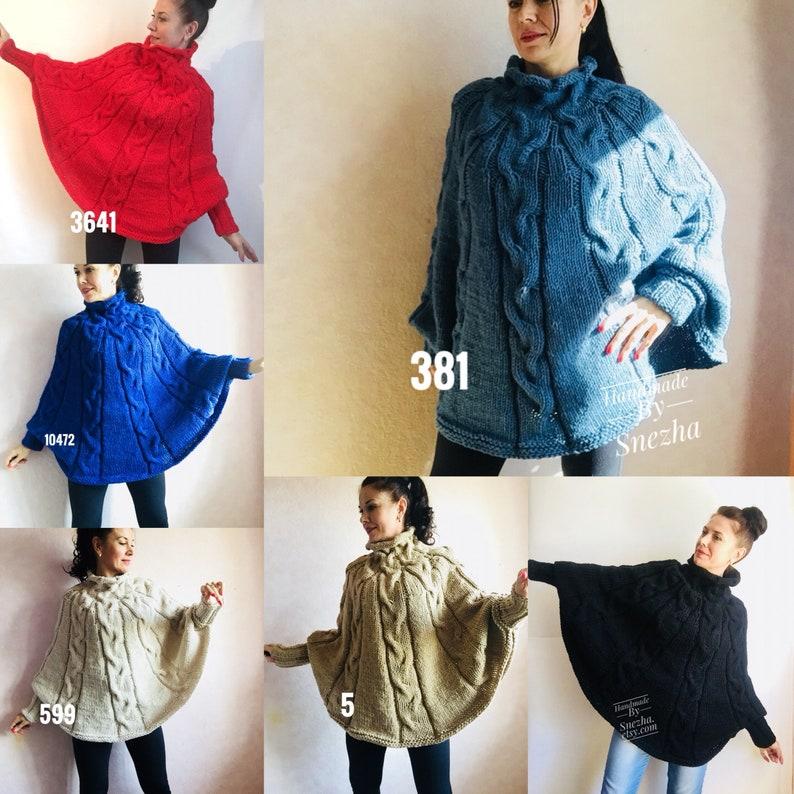543490cd8e Knit Poncho Women Crochet Poncho Sweater Black Wool Hand